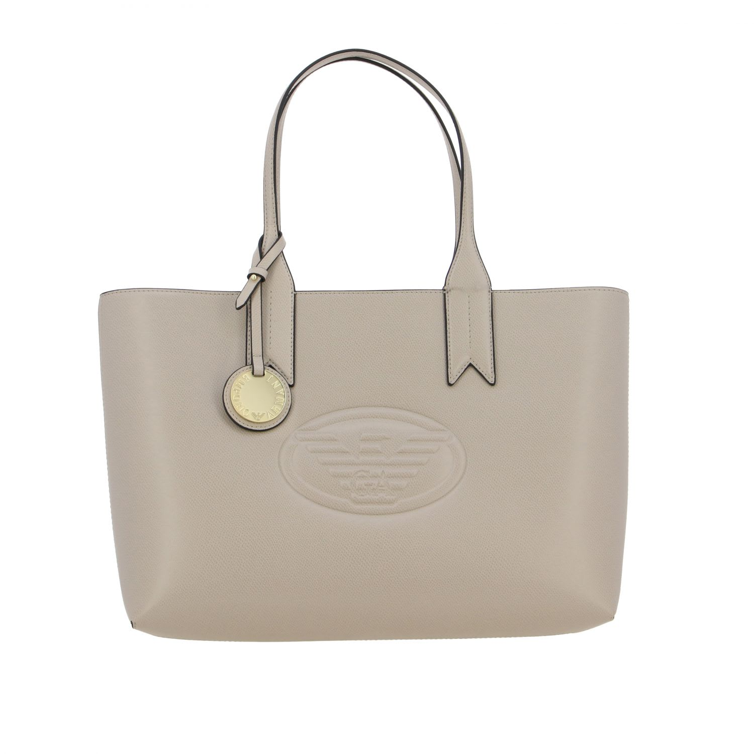 Emporio Armani Shopping Bag In Synthetic Leather With Embossed Logo In Dove Grey