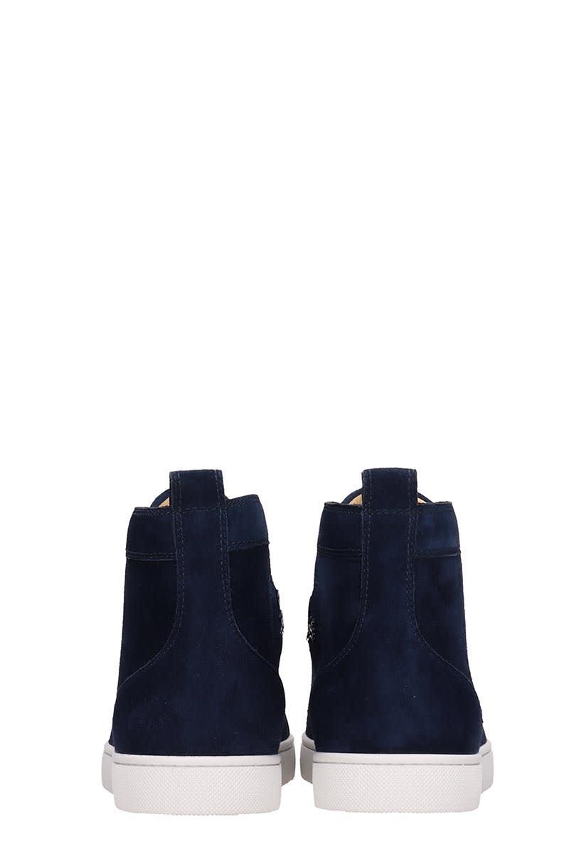 cheap for discount 4e1cf f2d6b Christian Louboutin Louis Flat Blue Suede Sneakers