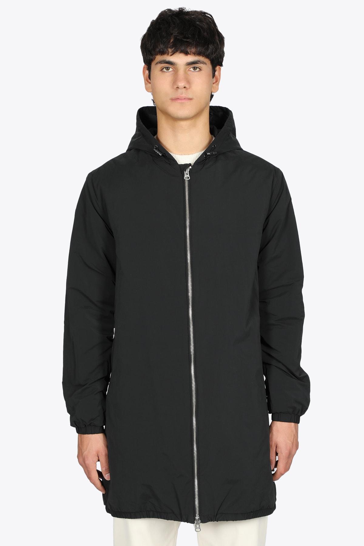 Black Nylon Hooded Coat