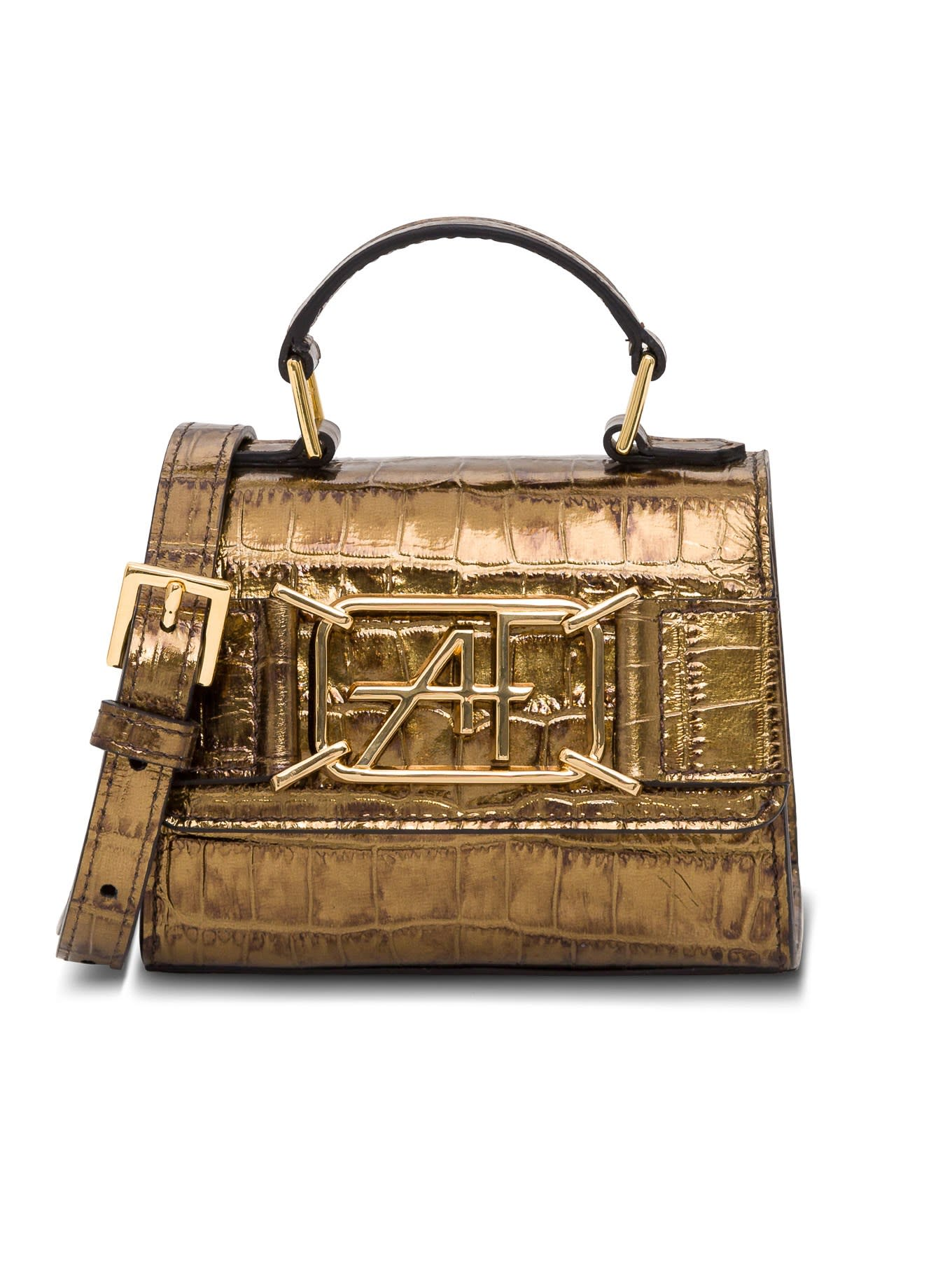 Alberta Ferretti MINI CROCODILE EMBOSSED LEATHER SHOULDER BAG