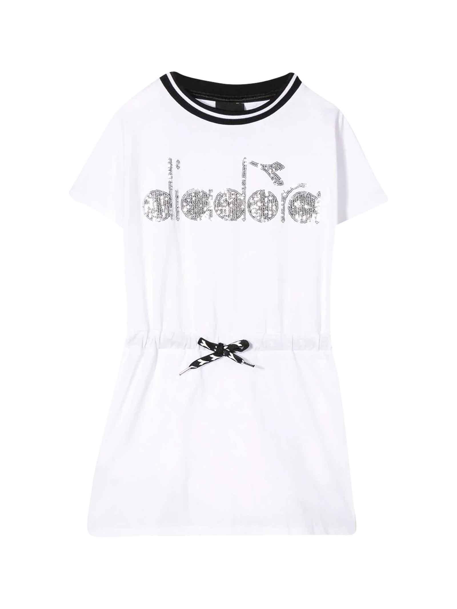 Buy Diadora White Dress With Frontal Logo online, shop Diadora with free shipping
