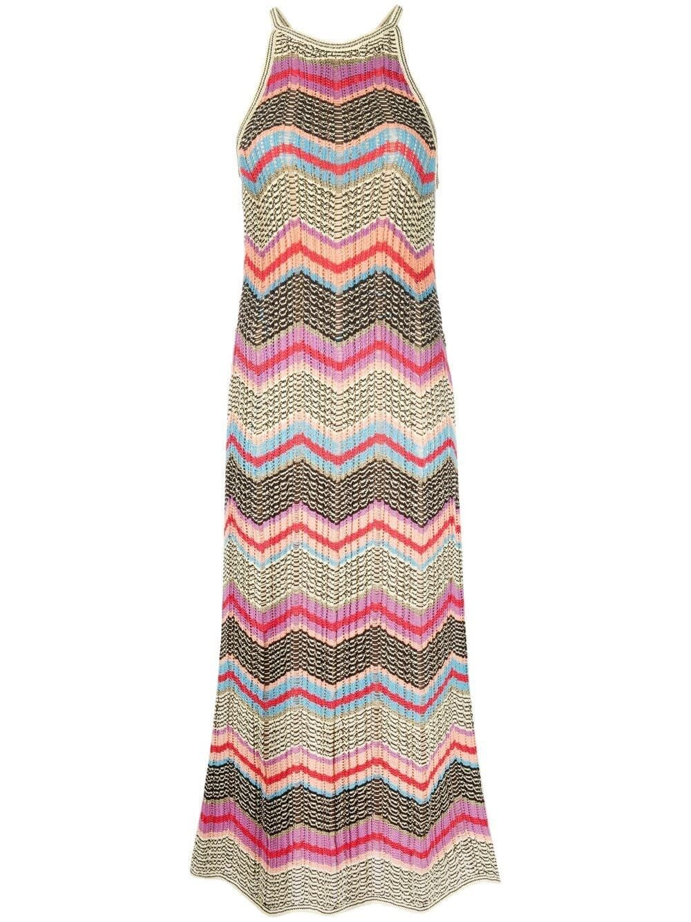Buy Long Dress With Multicolor Zig-zag Motif online, shop M Missoni with free shipping