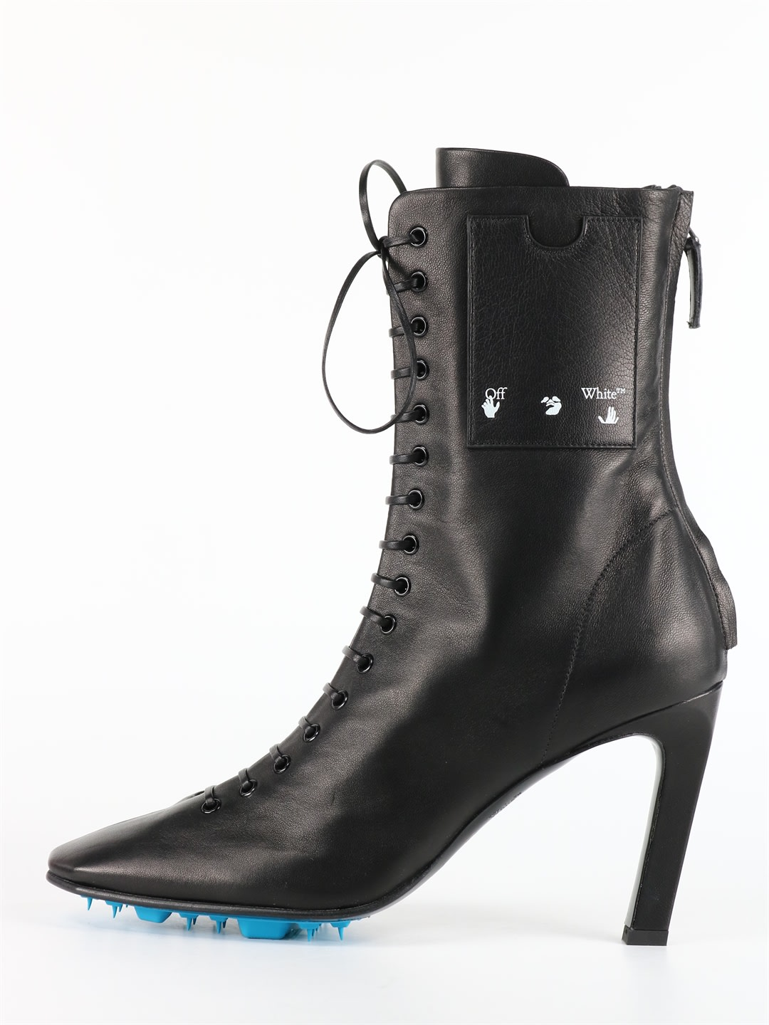 Off-White Leather Ankle Boots Black