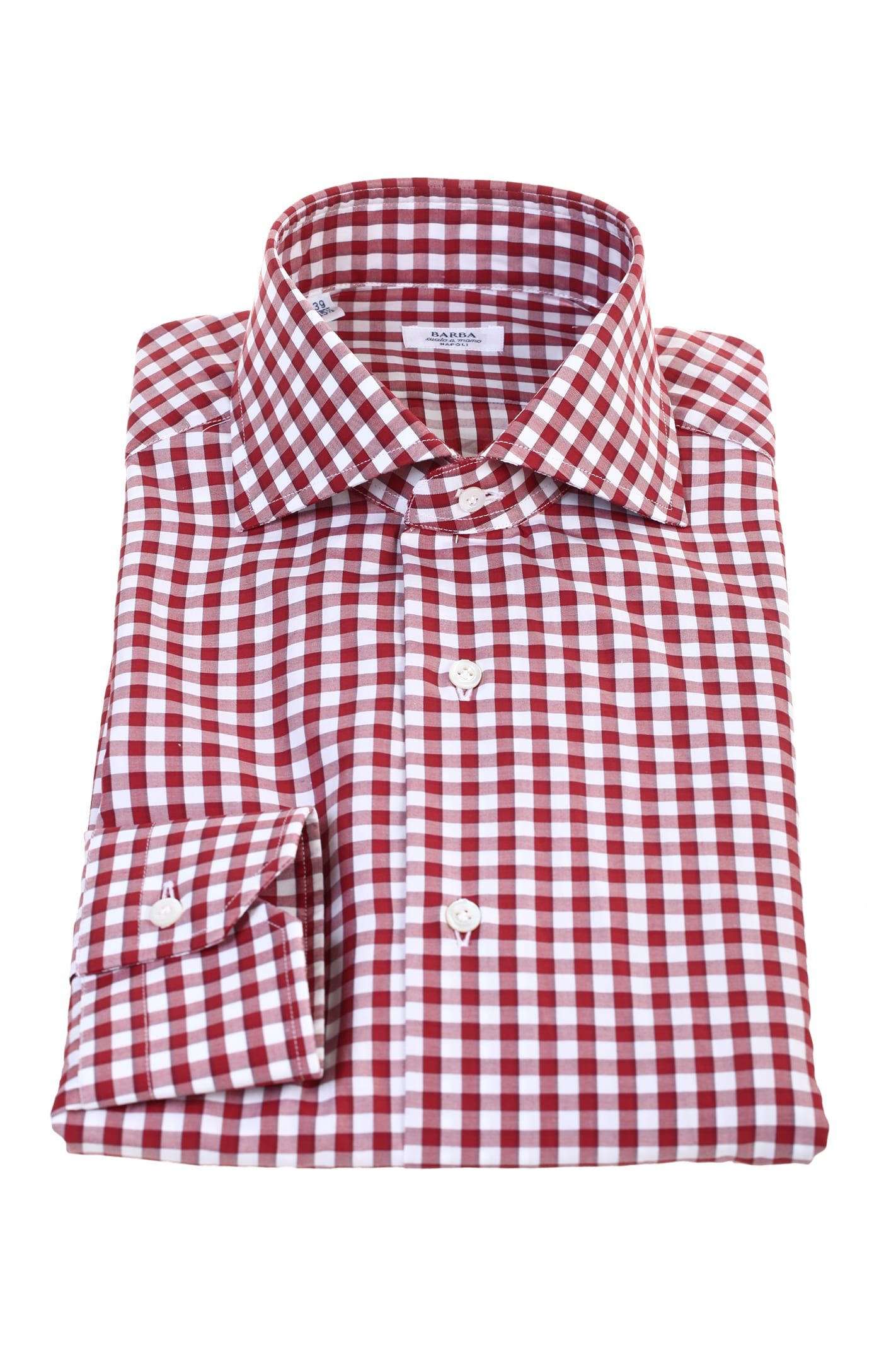 Barba red and white small checked cotton shirt