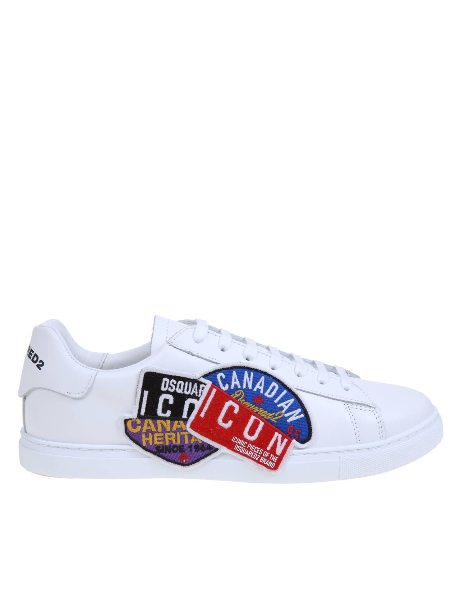 Dsquared2 DSQUARED NEW TENNIS SNEAKERS IN LEATHER WITH ICON PATCH