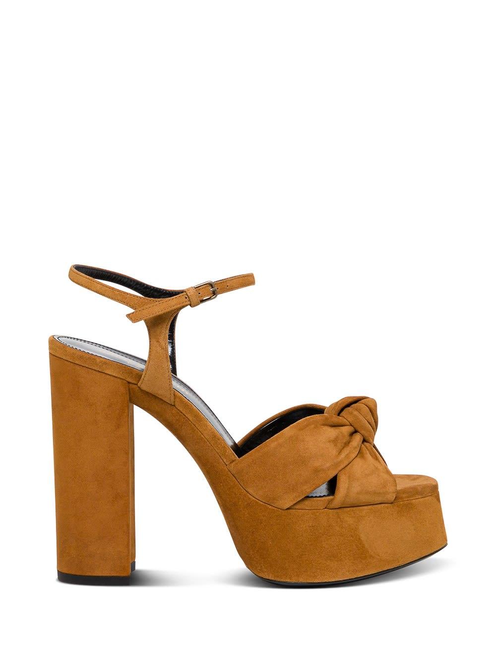 Buy Saint Laurent Bianca Suede Leather Sandals online, shop Saint Laurent shoes with free shipping