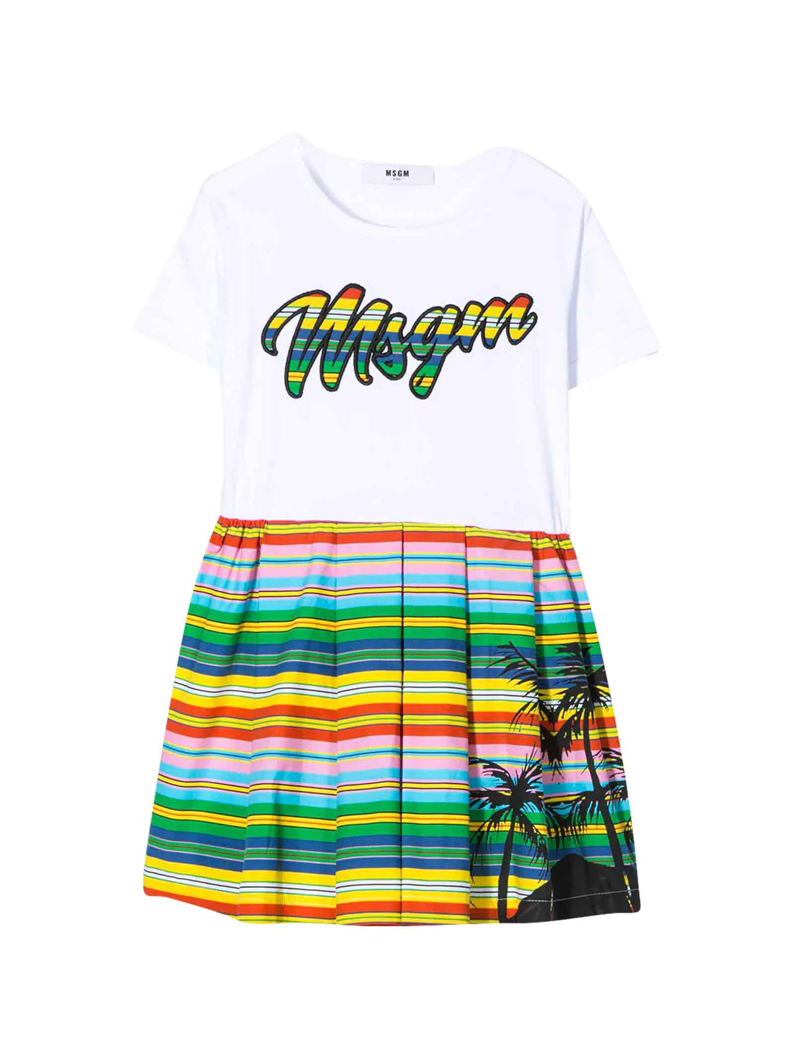 Buy MSGM White Dress With Multicolor Press online, shop MSGM with free shipping