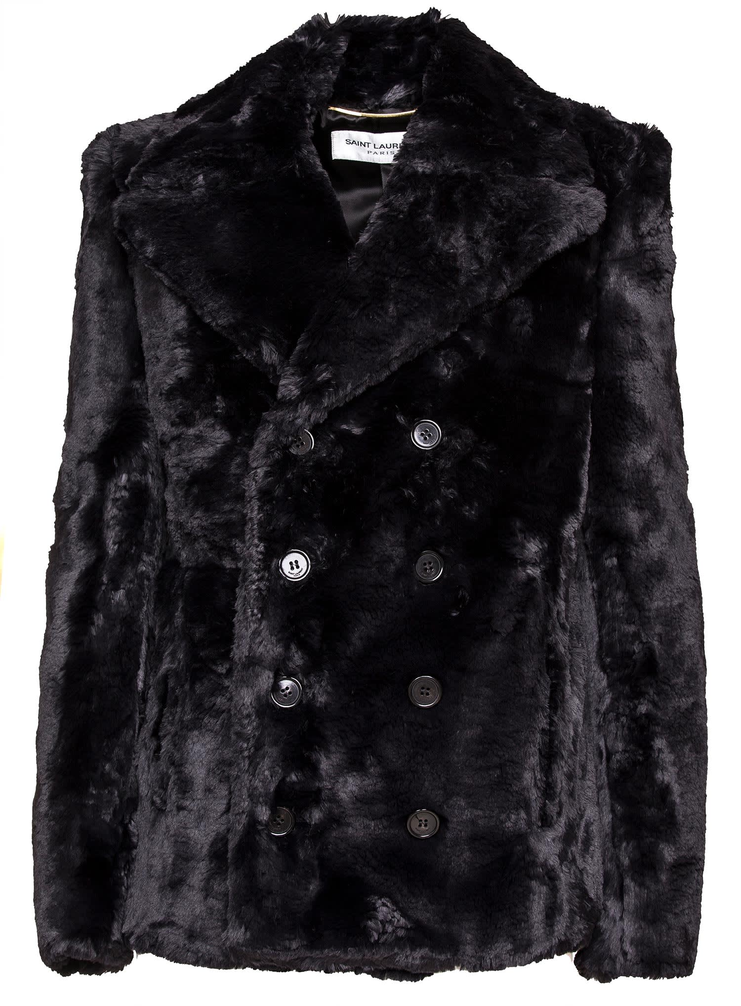 Saint Laurent Fake Fur Pea Coat