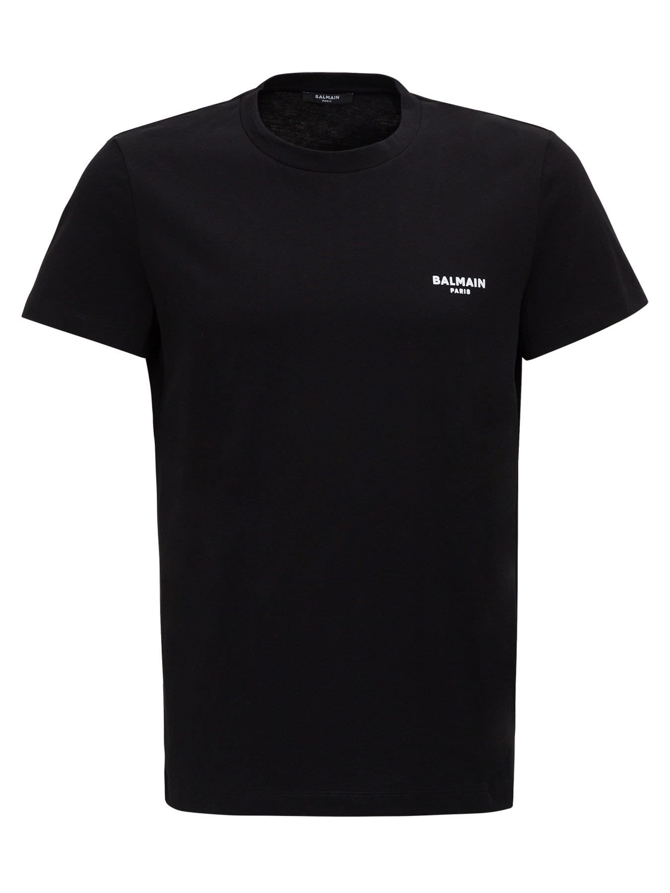 Balmain T-shirt With Flocked Logo To The Chest