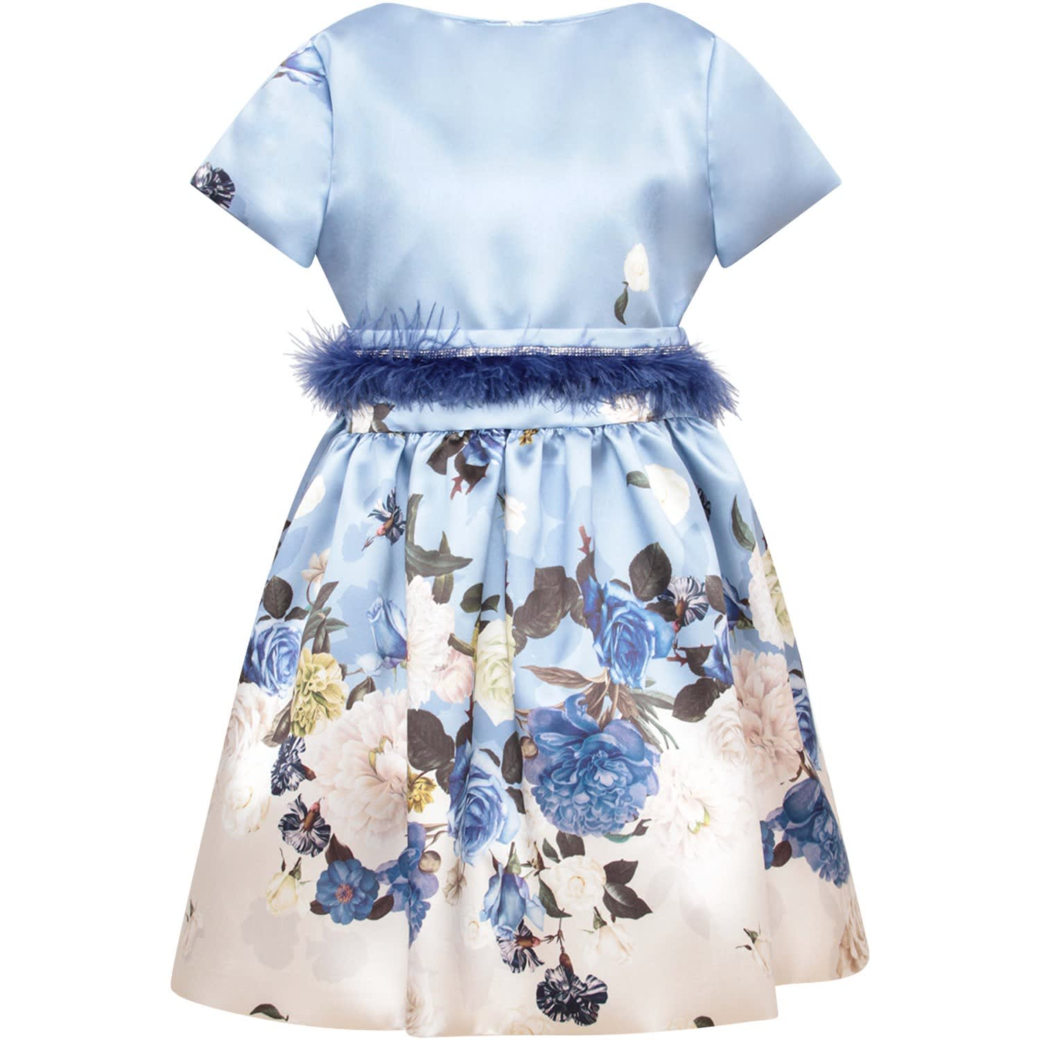 Loredana Light Blue Girl Dress With Colorful Flowers