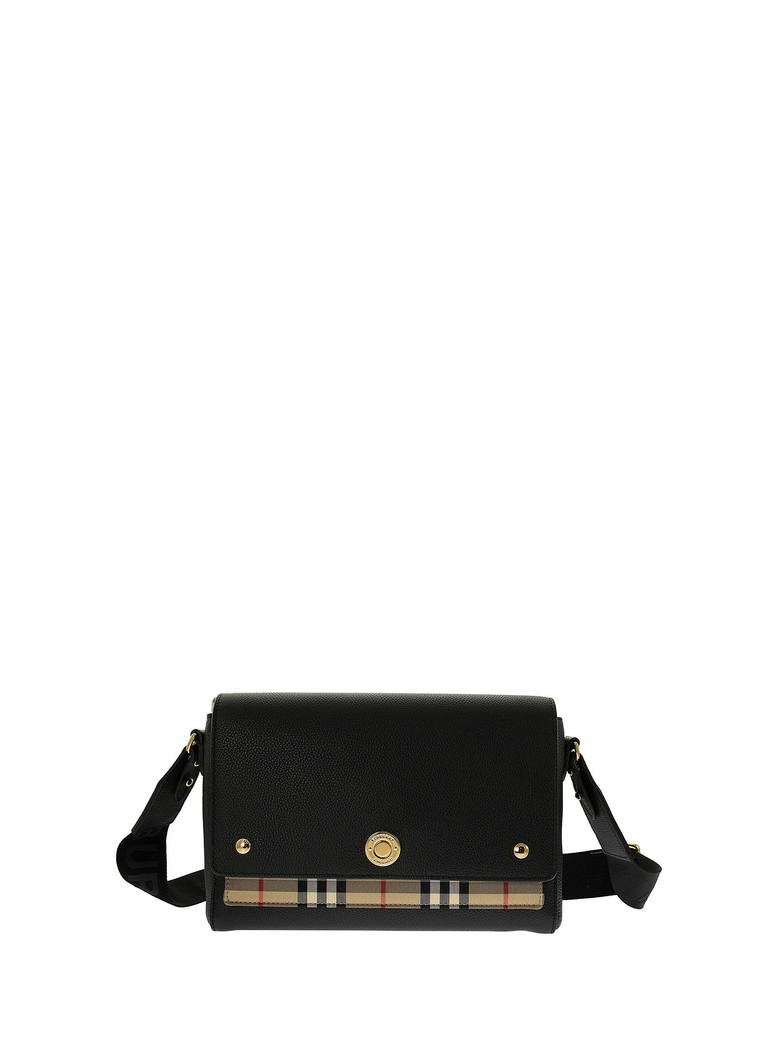 Burberry LEATHER AND VINTAGE CHECK NOTE CROSSBODY BAG BLACK