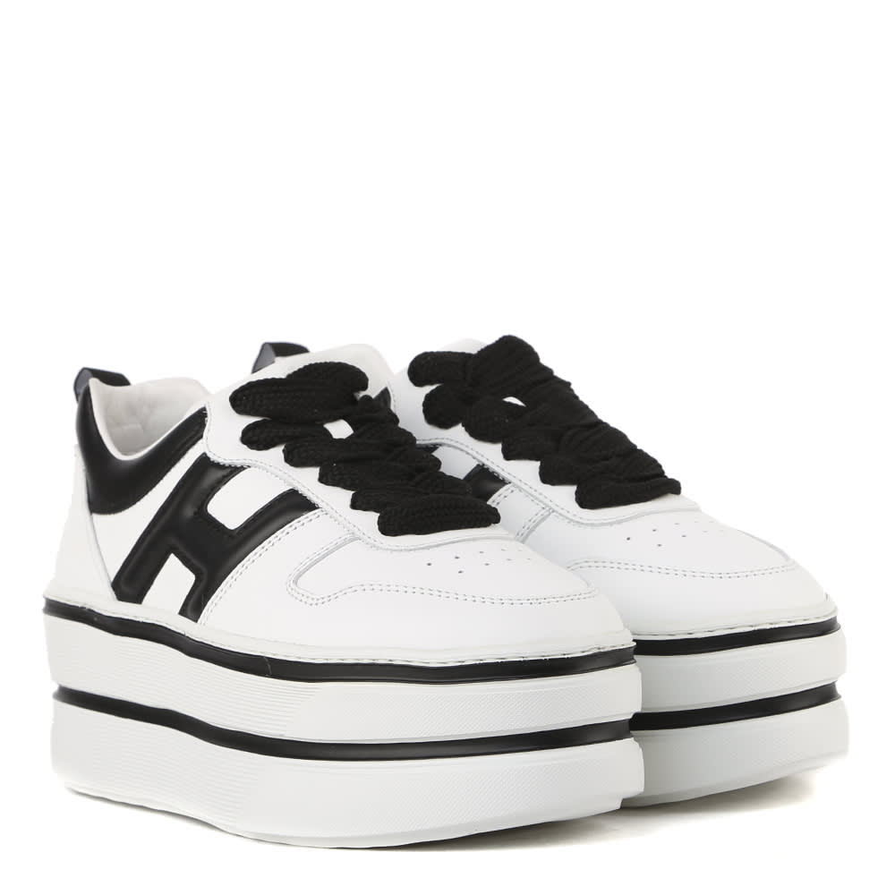 Hogan H449 Sneakers In White And Black Leather   italist