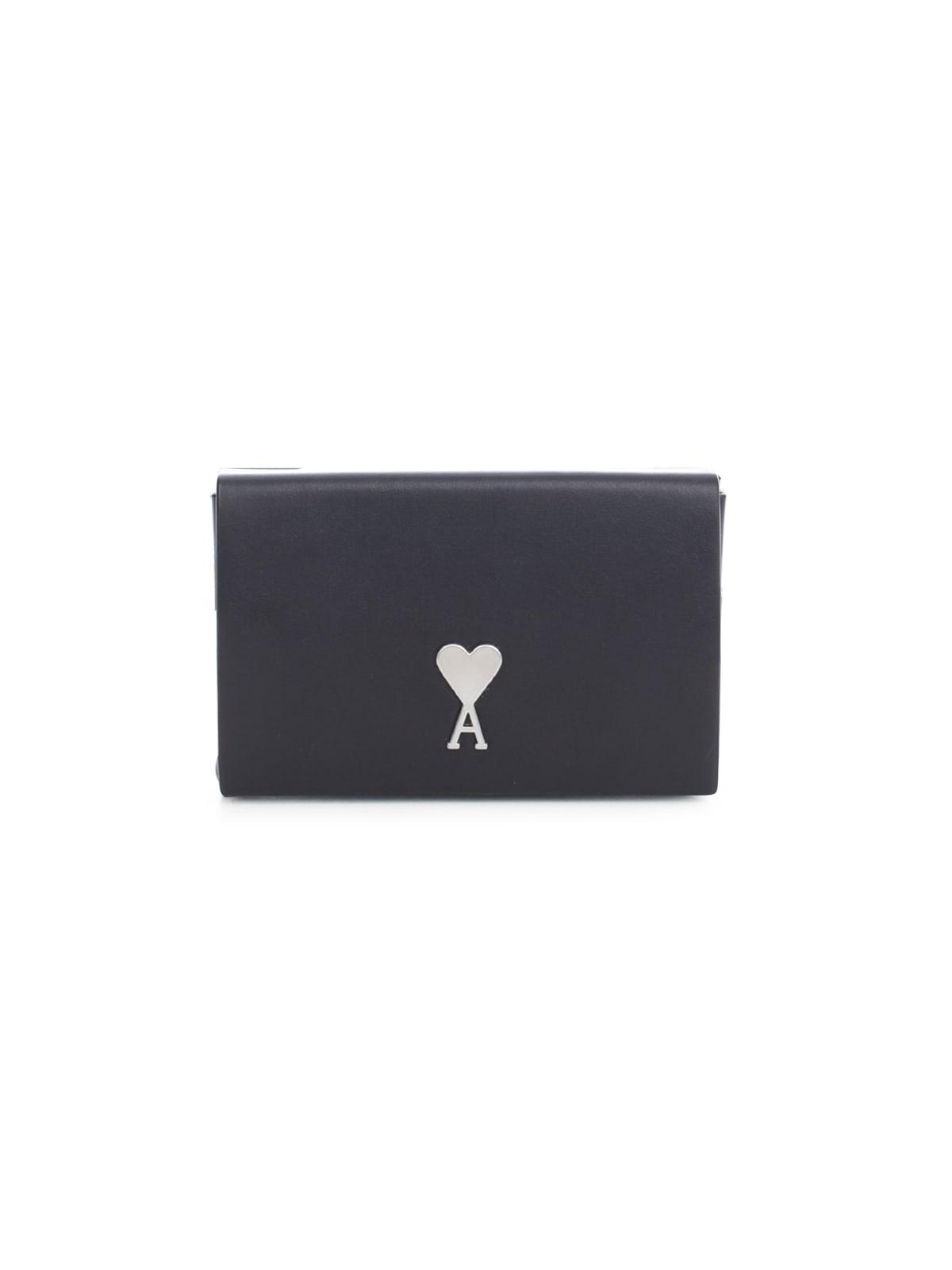 Ami Alexandre Mattiussi Mini Box Bag Ami De Coeur Vegetable Tanned Leather In Black