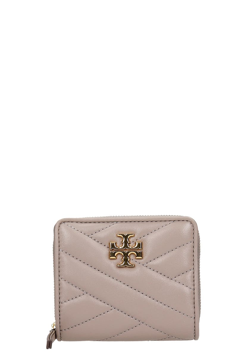 Tory Burch Kira Wallet In Grey Leather
