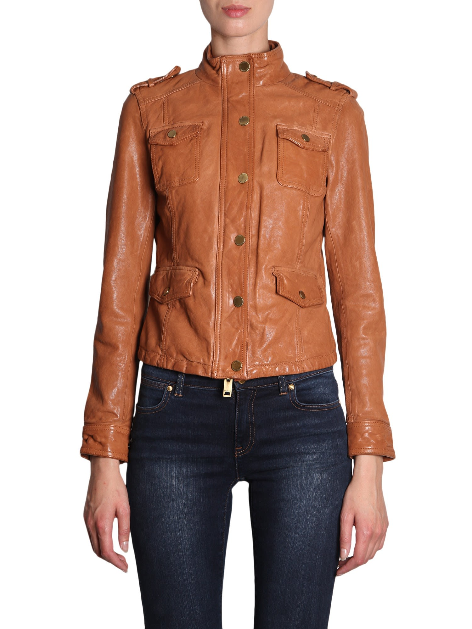 4b2a9e6c MICHAEL Michael Kors MICHAEL Michael Kors Leather Jacket - MARRONE ...