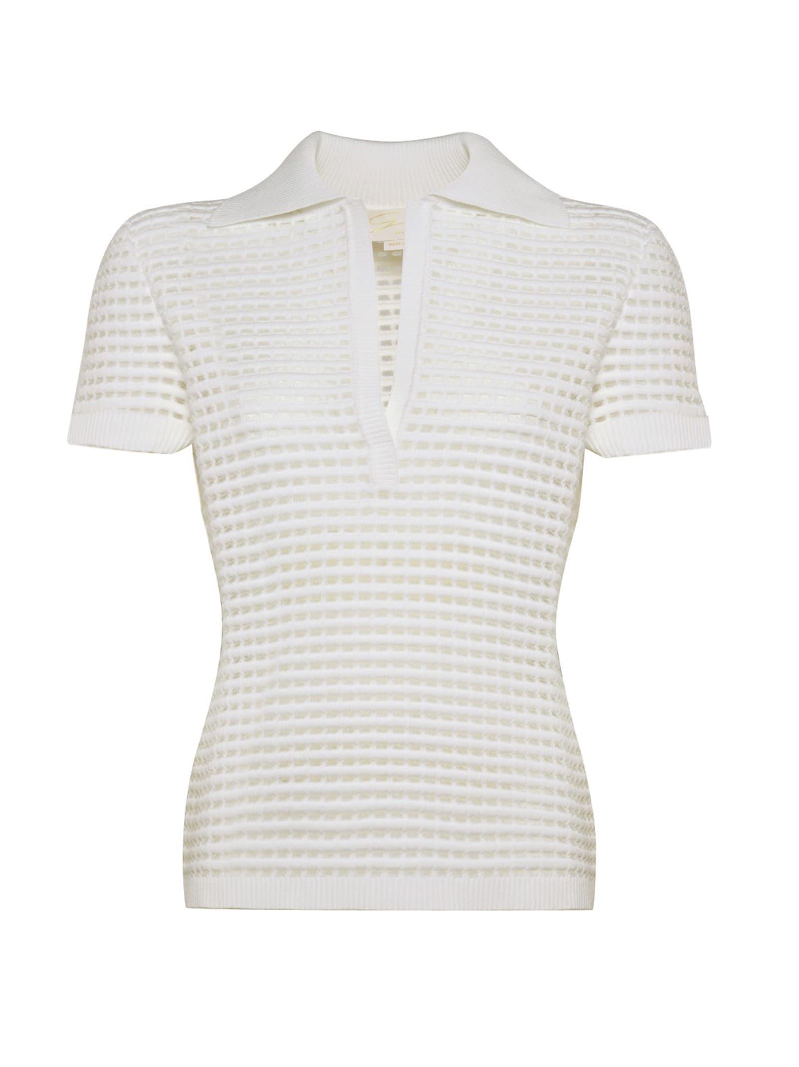 White Stretch-knit Top
