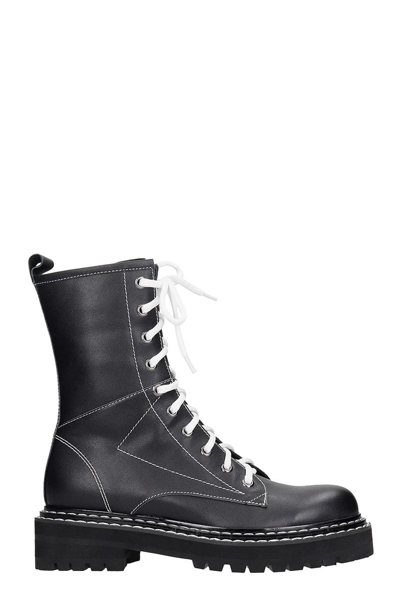 Bibi Lou Combat Boots In Black Leather