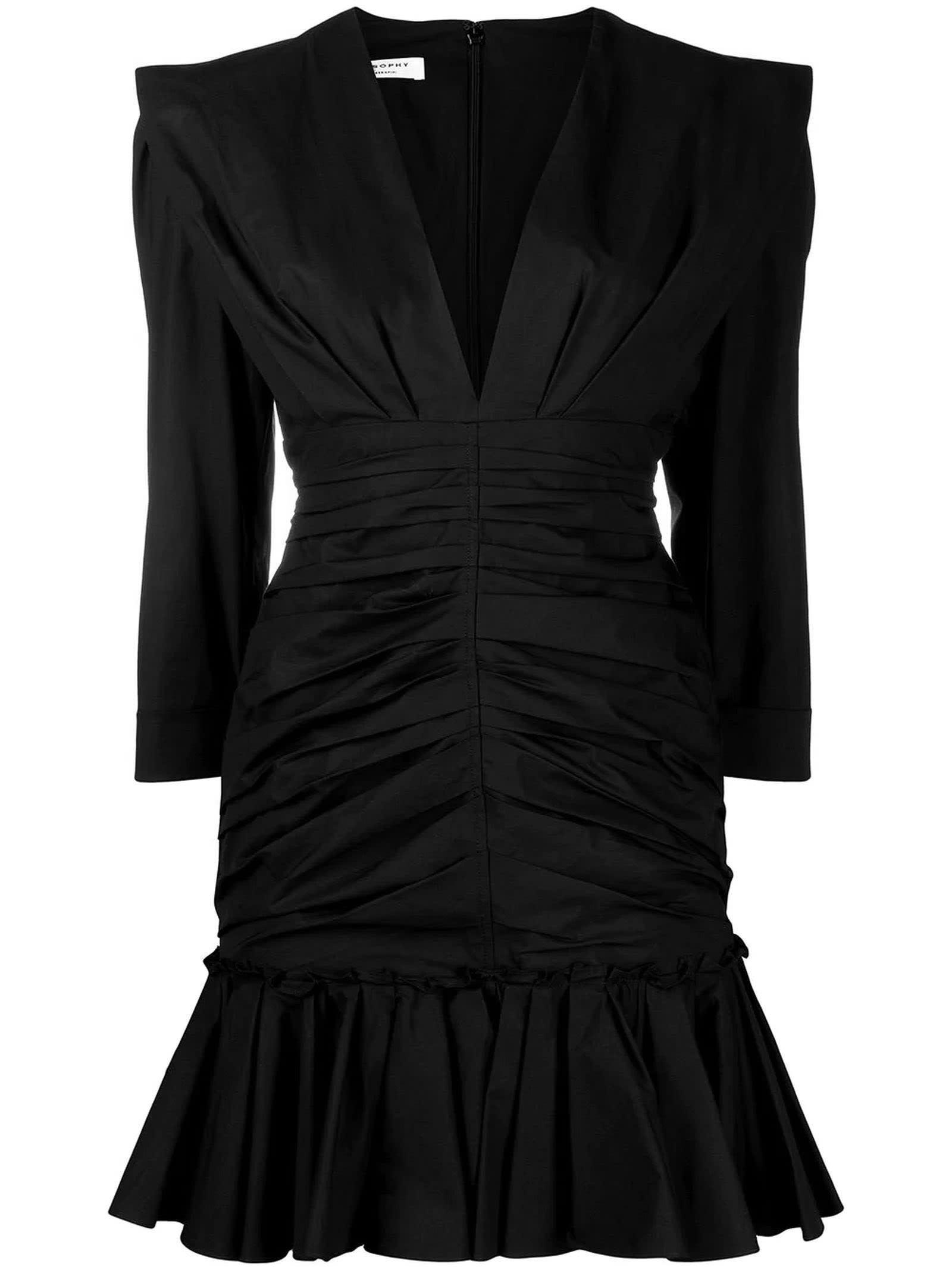 Buy Philosophy di Lorenzo Serafini Black Cotton Blend Dress online, shop Philosophy di Lorenzo Serafini with free shipping