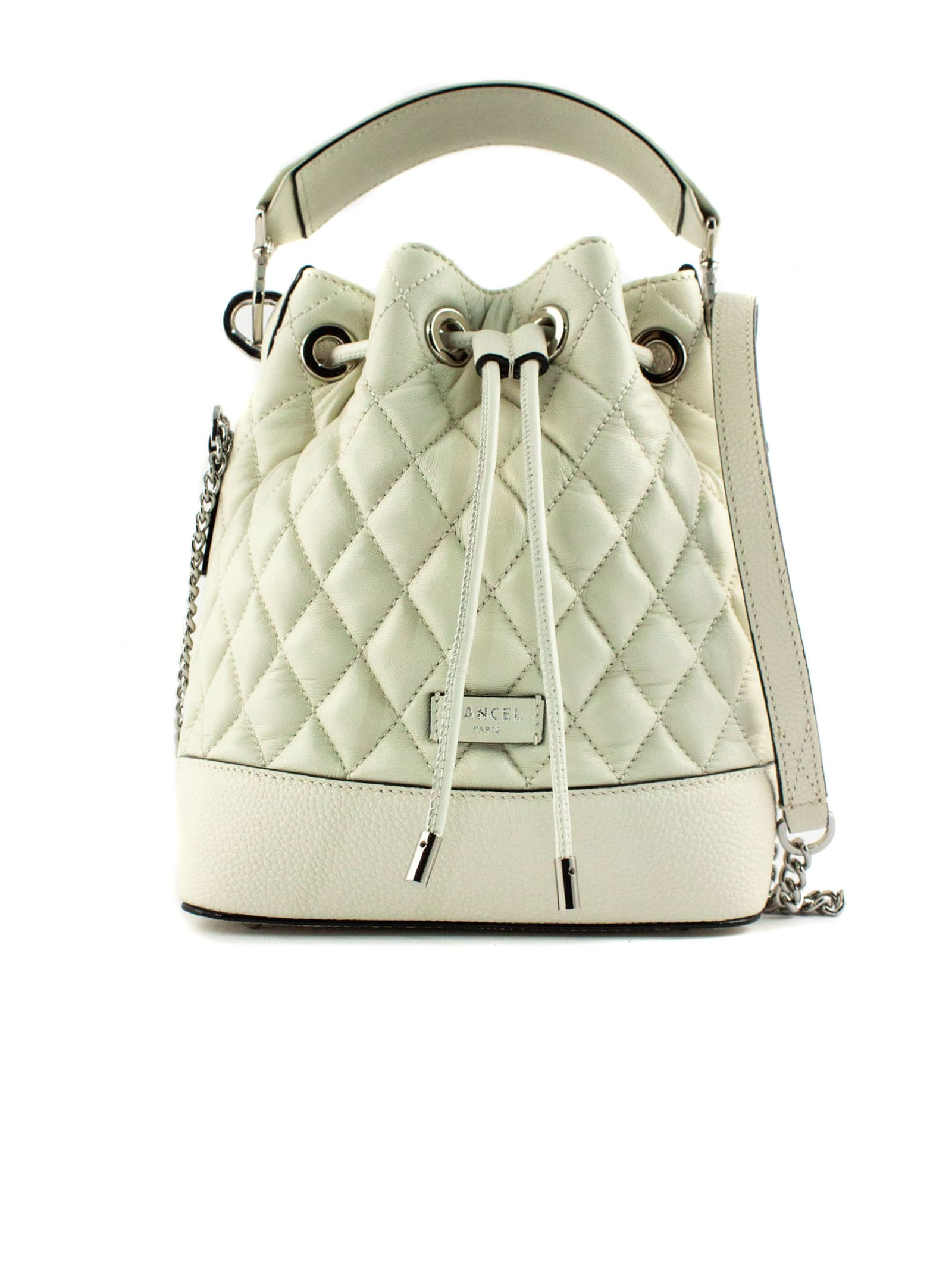 White Quilted Leather Bucket Bag