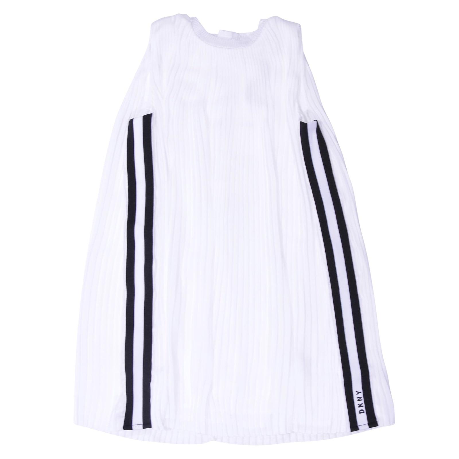 DKNY White Pleated Satin Dress