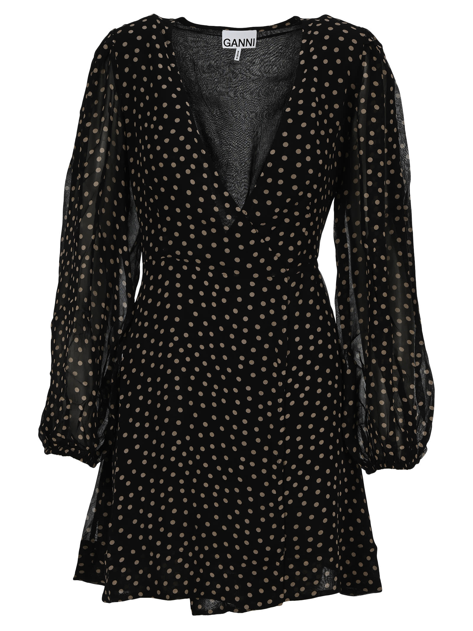 Buy Ganni Printed Georgette Mini Wrap Dress online, shop Ganni with free shipping