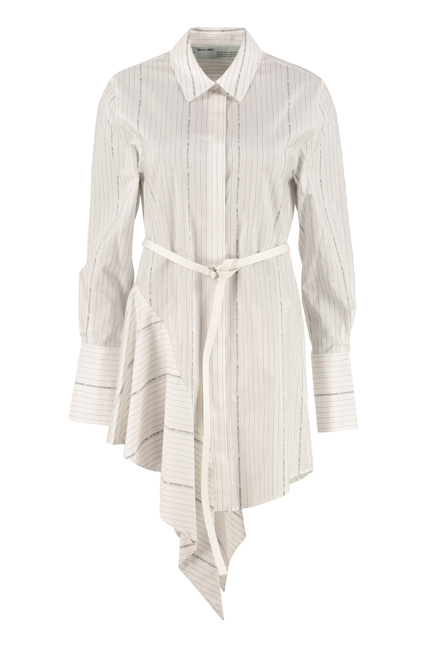 Buy Off-White Striped Cotton Shirt Dress online, shop Off-White with free shipping