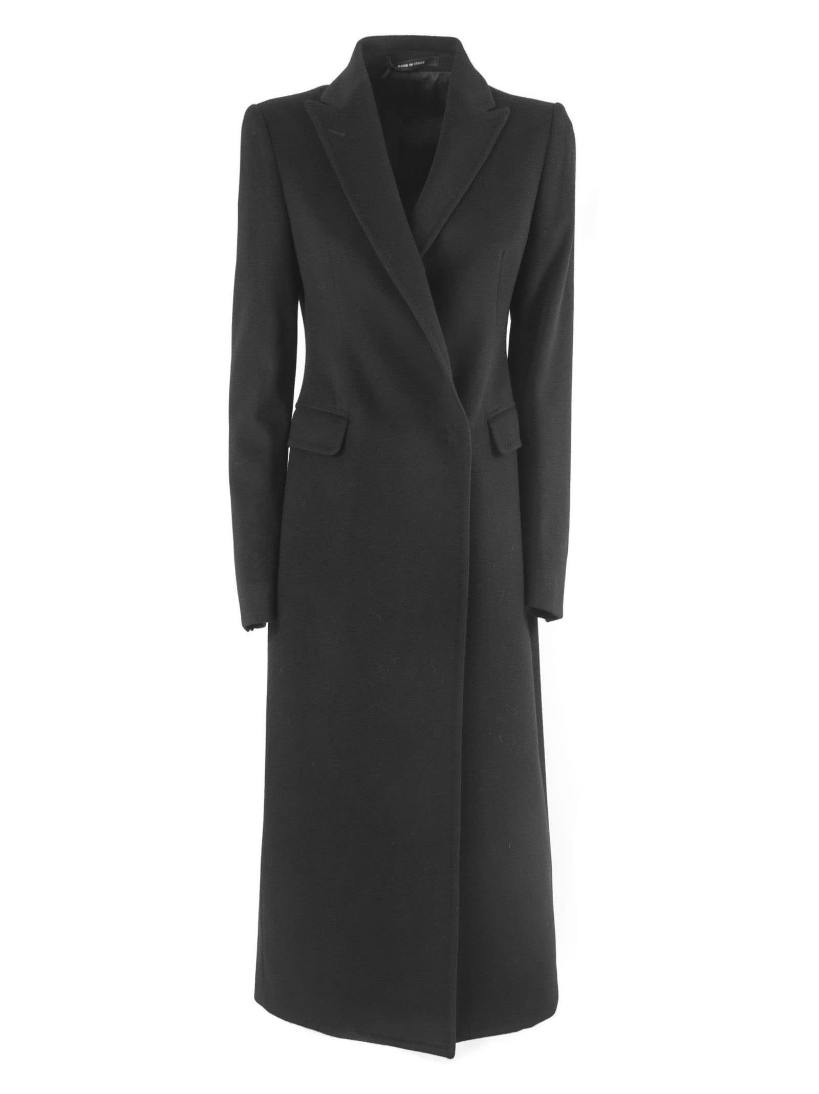 Tagliatore Long Coat In Black Wool And Cashmere