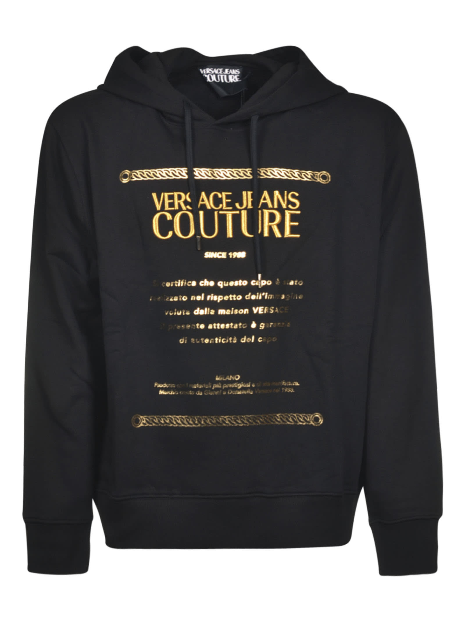 Versace Jeans Couture Logo Embroidered Sweatshirt In Black