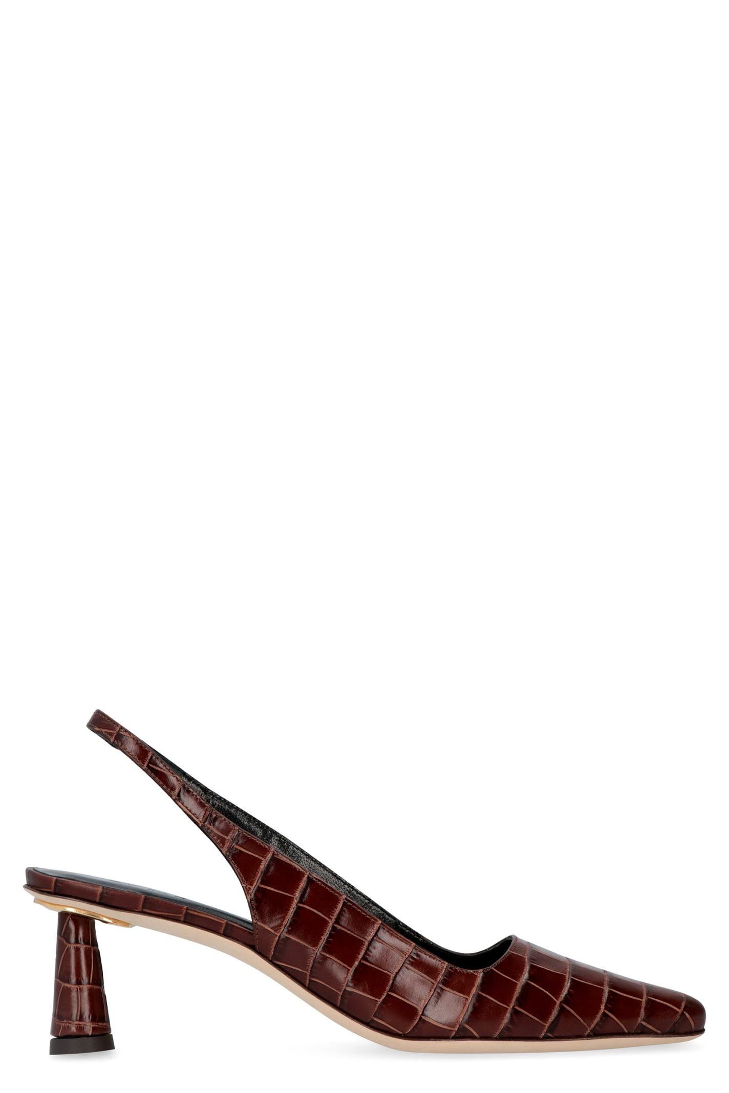 BY FAR Diana Croco Print Leather Slingback Pumps