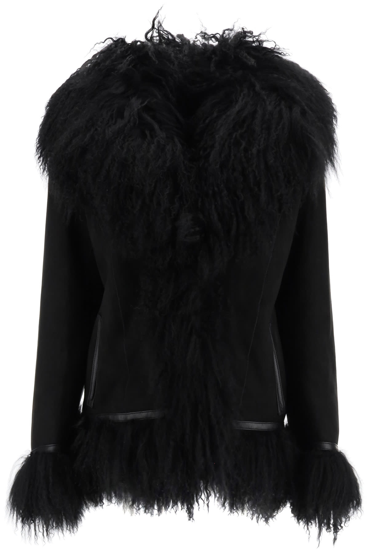 Saks Potts BON SHEARLING COAT WITH FUR