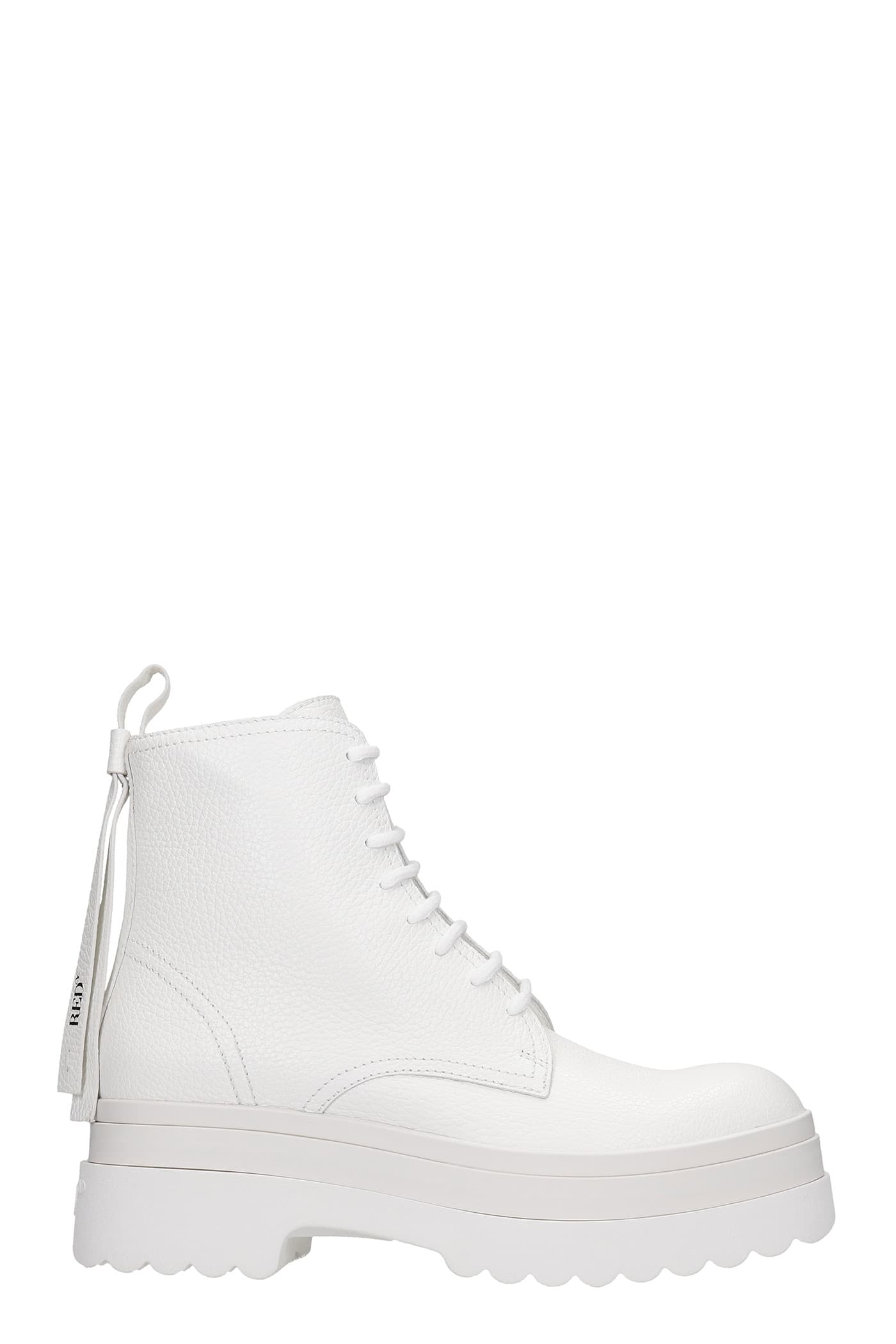 Red Valentino COMBAT BOOTS IN WHITE LEATHER