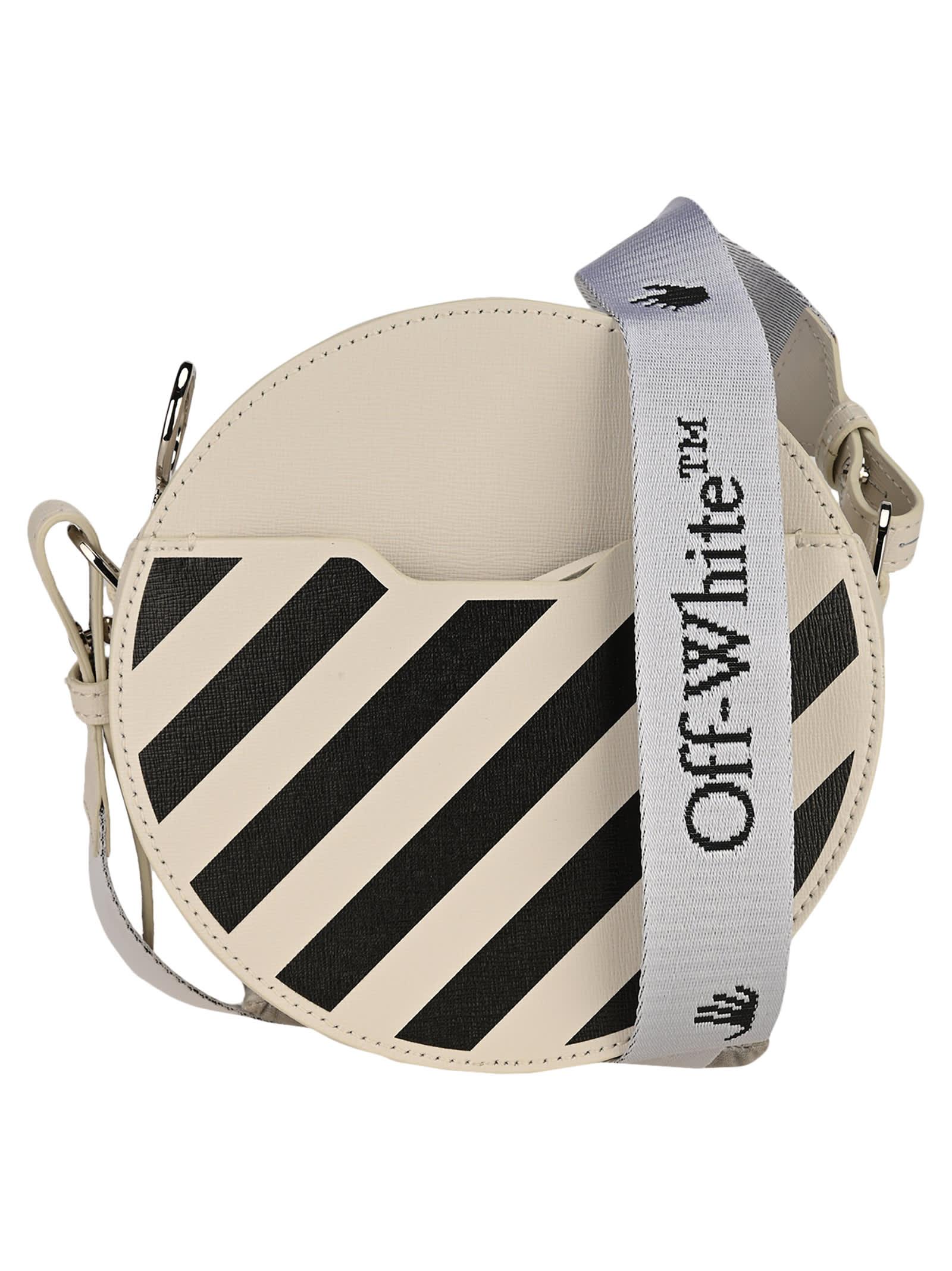 Off White Diagonal Stripe Round Bag