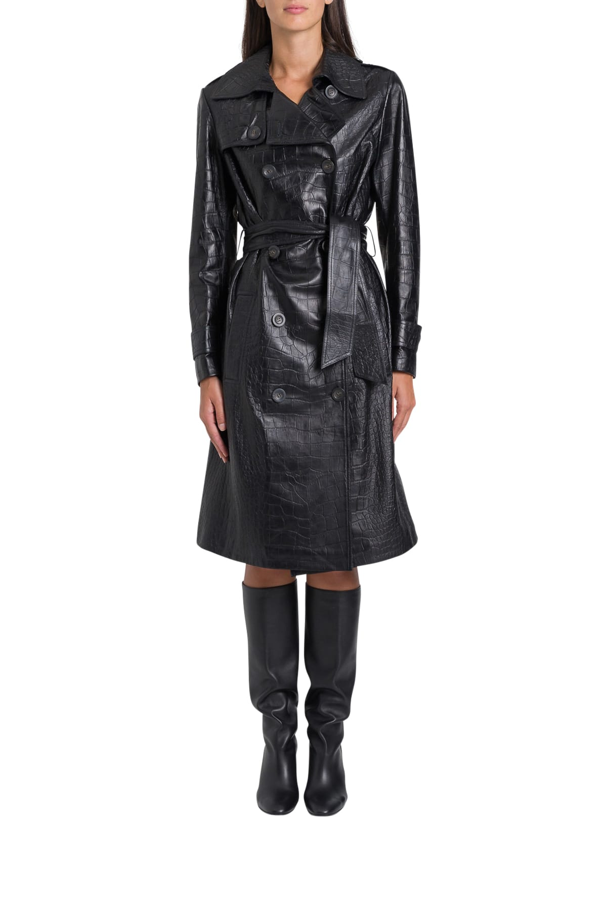 Photo of  ARMA Nana Cocco Prited Leather Trench- shop ARMA jackets online sales