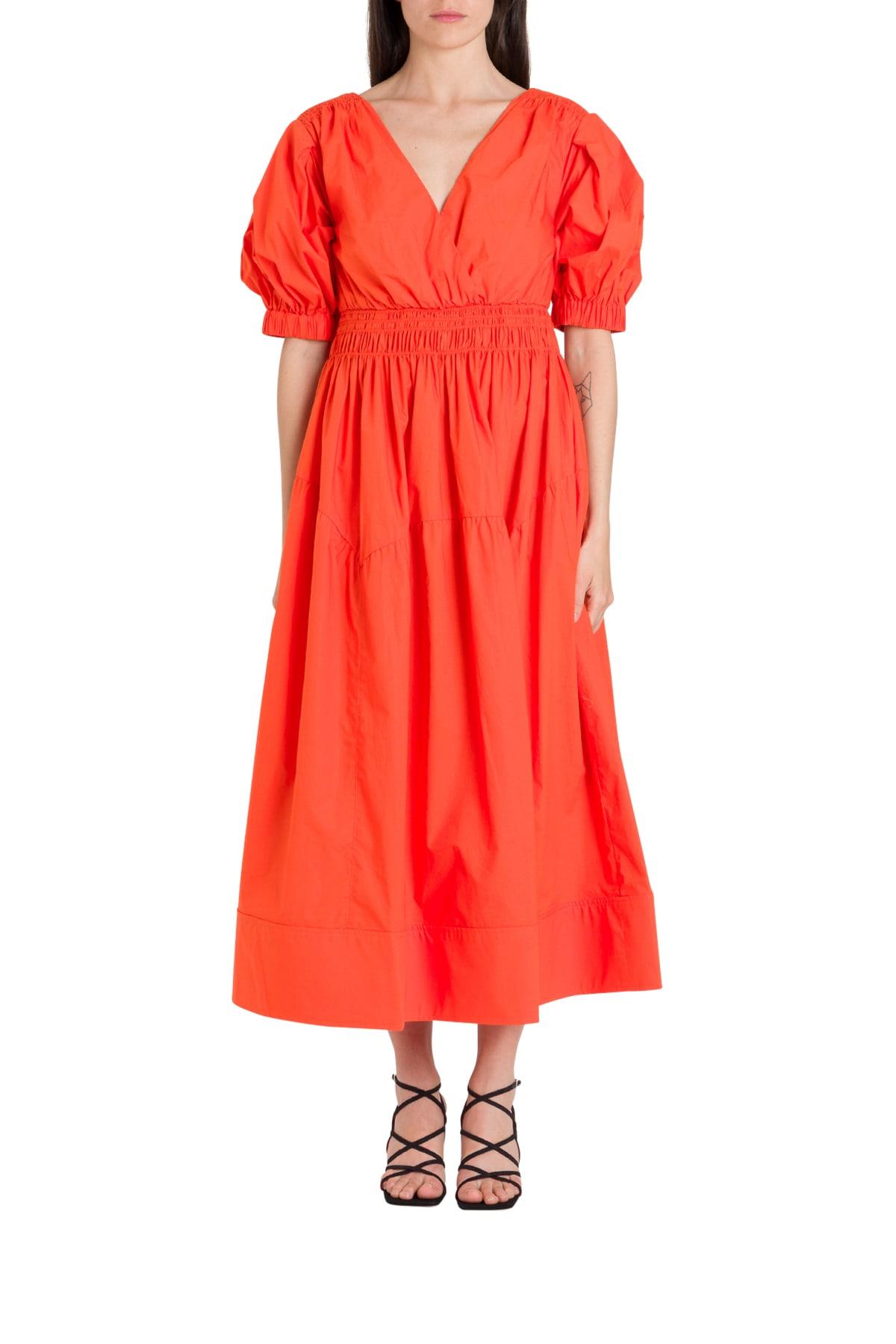 Buy self-portrait Orange Cotton Poplin Midi Dress online, shop self-portrait with free shipping