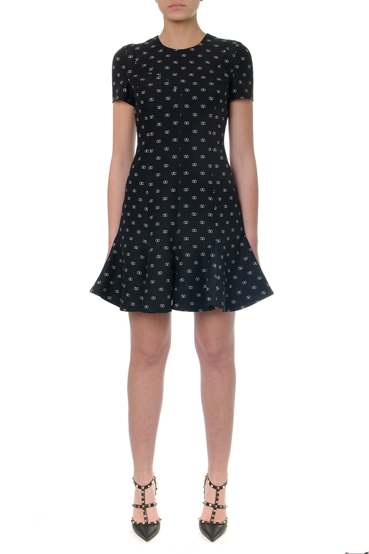 Valentino Black Vlogo Silk & Wool Mini Dress