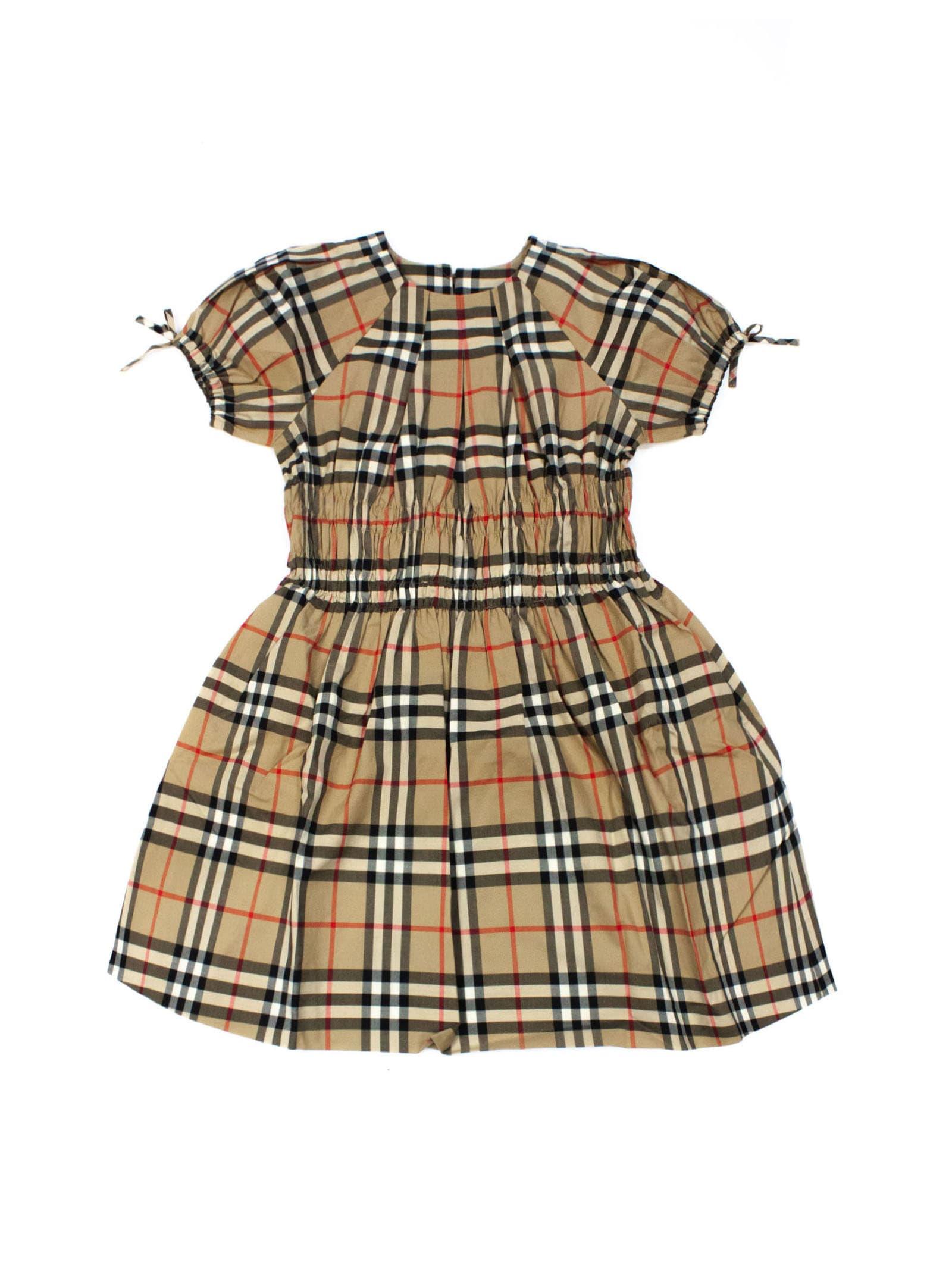 Burberry Beige Cotton Archive Check-print Dress