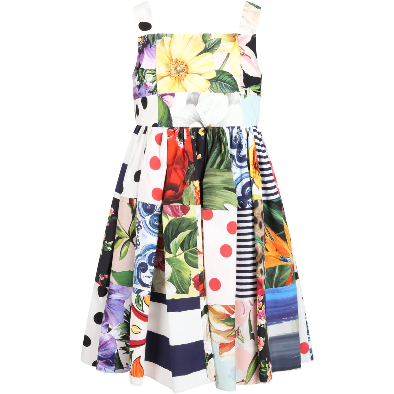 Buy Dolce & Gabbana Multicolor Dress For Girl With Iconic Prints online, shop Dolce & Gabbana with free shipping