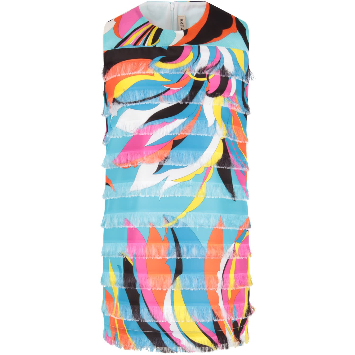 Buy Emilio Pucci Light Blue Girl Dress With Iconic Print online, shop Emilio Pucci with free shipping