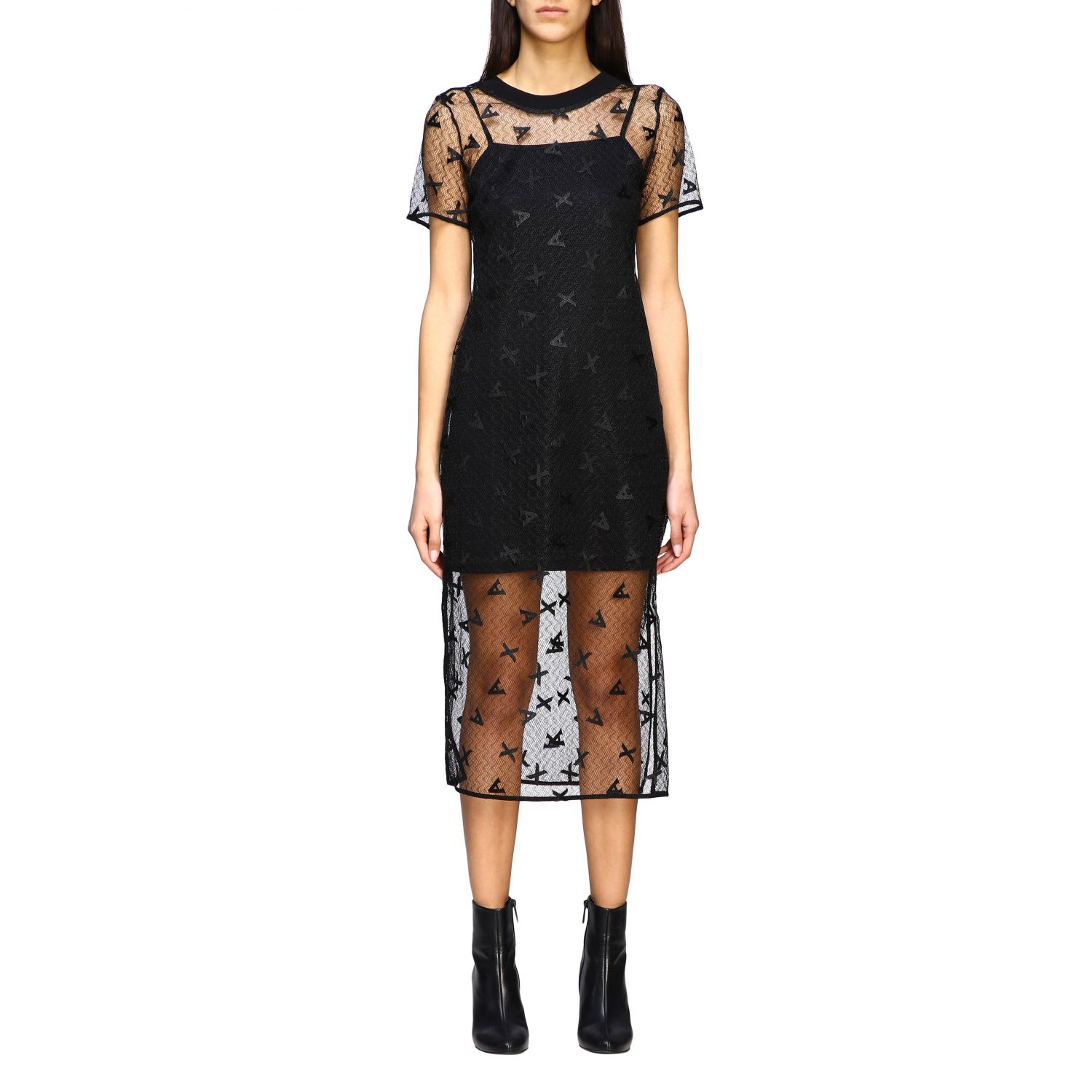 Buy Armani Exchange Dress Armani Exchange Dress In Branded Tulle online, shop Armani Collezioni with free shipping