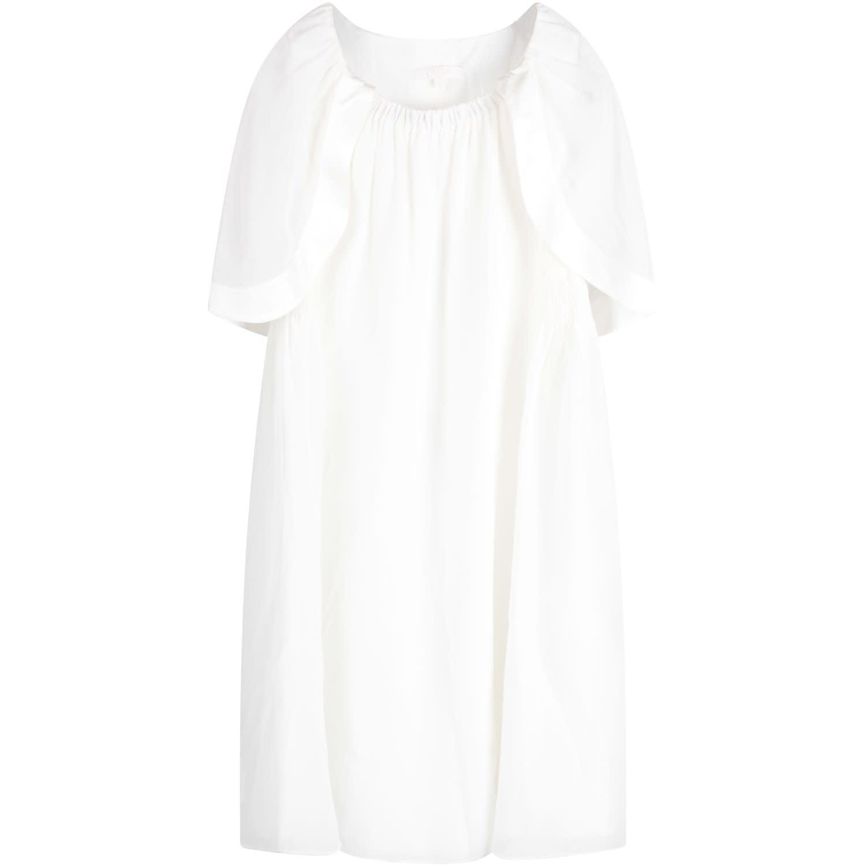 Chloé White Girl Dress With Logo