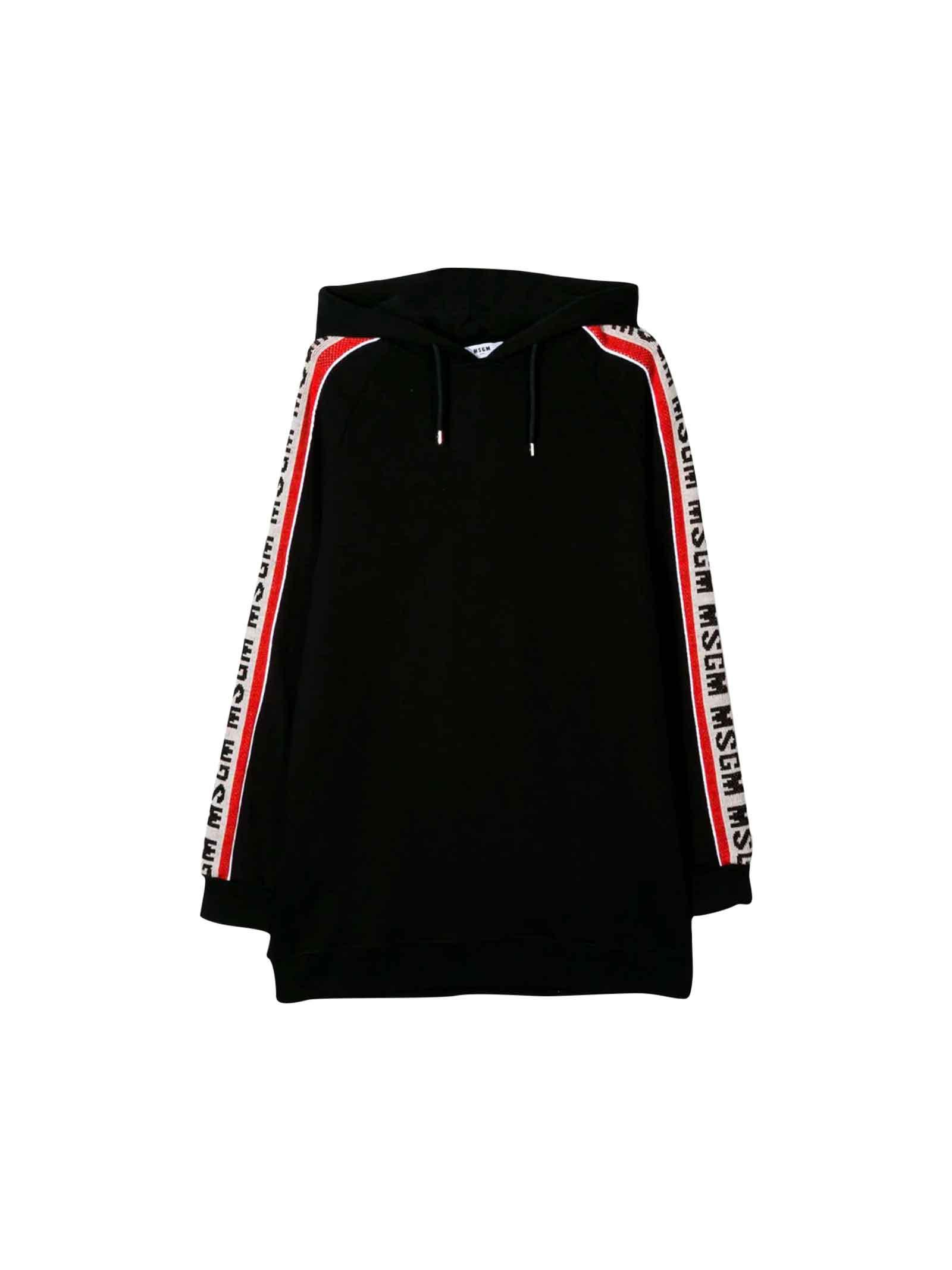 MSGM Black Sweatshirt Dress Teen