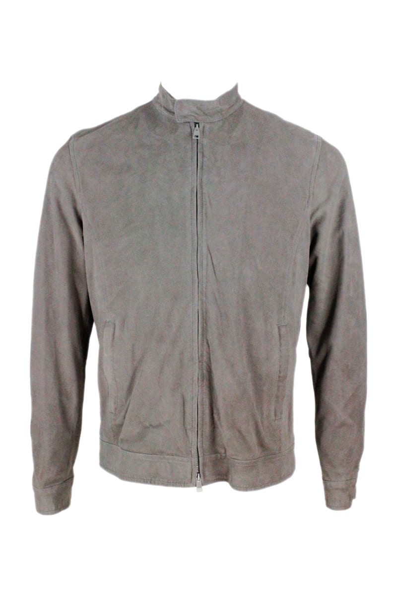 Barba Napoli Suede Biker Jacket With Cotton Jersey Lining And Zip