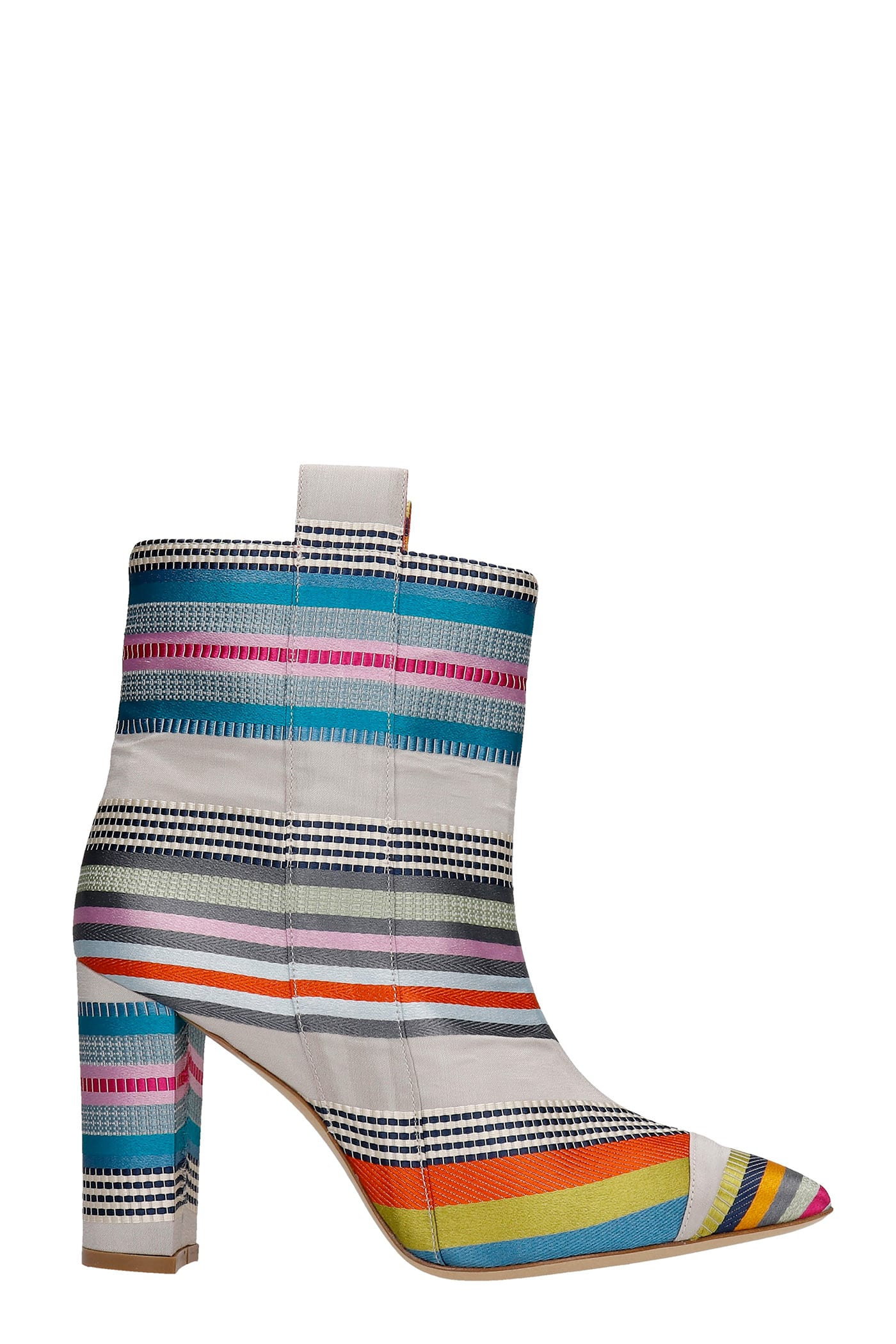 High Heels Ankle Boots In Grey Fabric