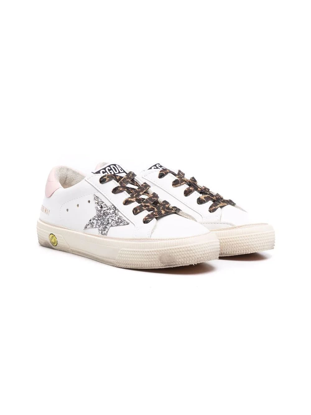 Golden Goose Junior White Super-star Sneakers With Animalier Laces And Silver Glitter Star