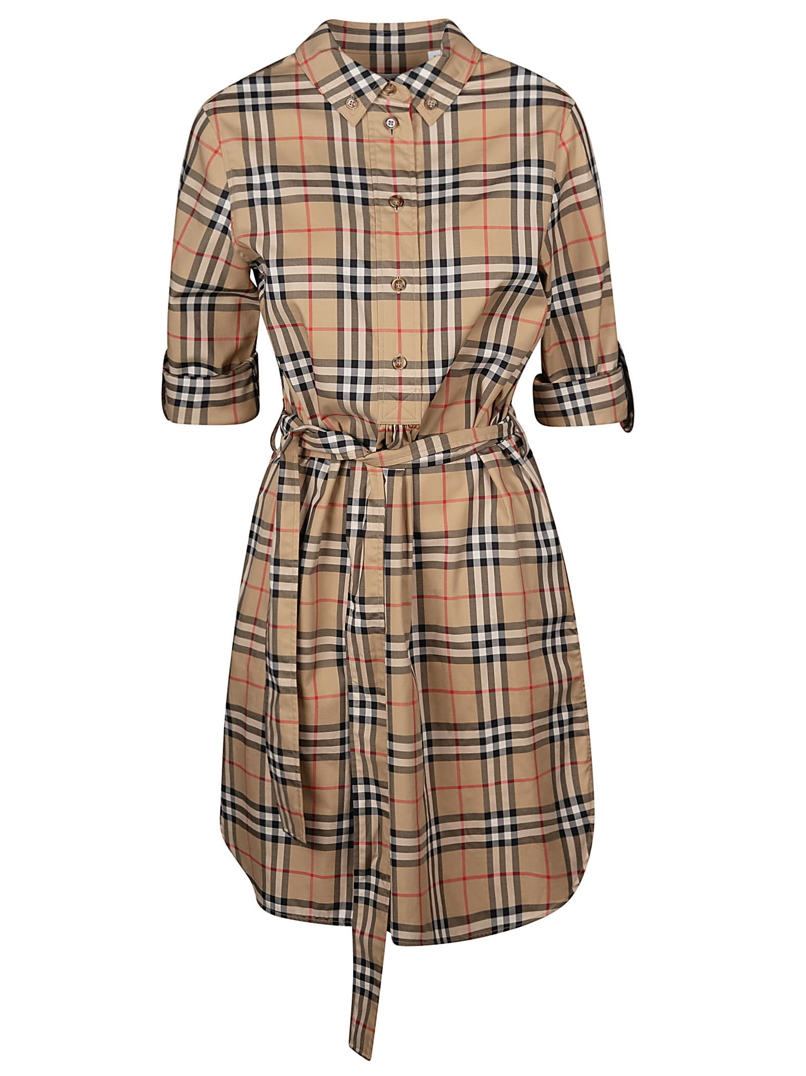 Burberry Check Print Belted Dress