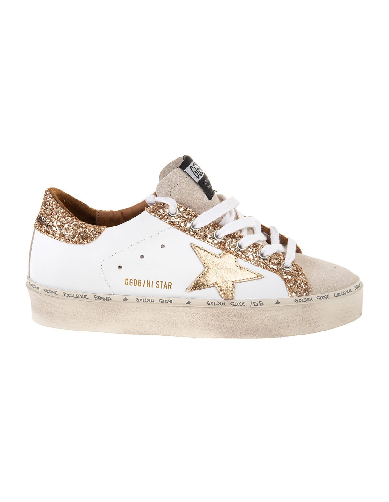 Golden Goose Woman White And Gold Super-star Sneakers