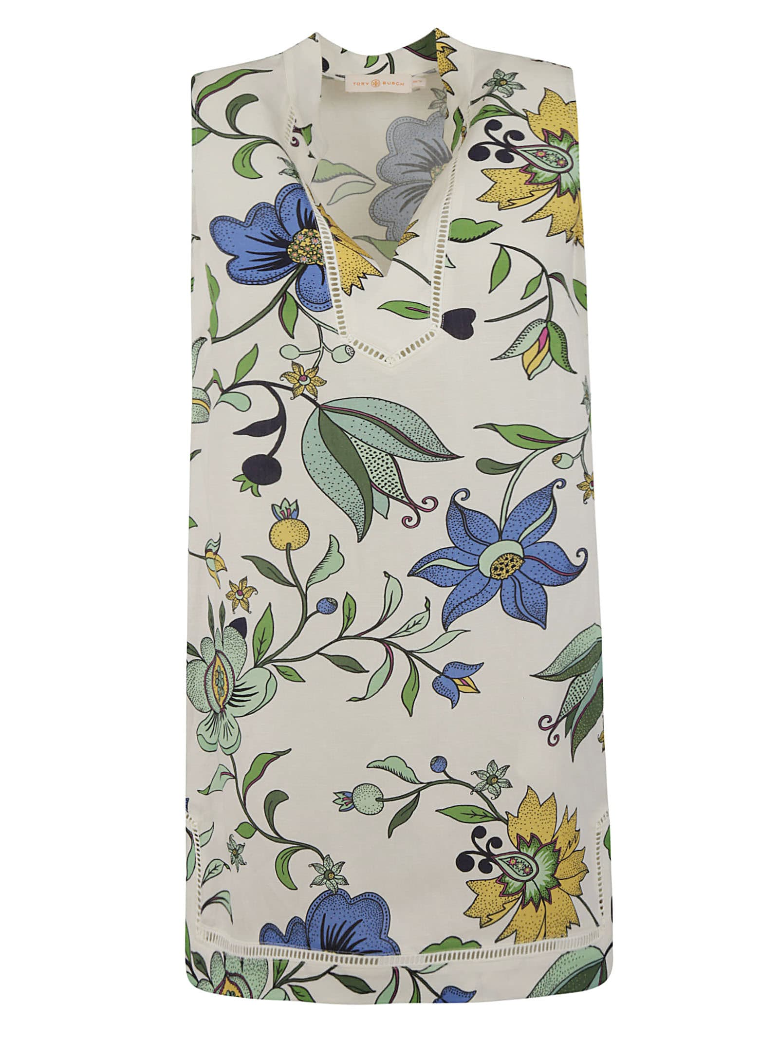 Buy Tory Burch Floral Sleeveless Short Dress online, shop Tory Burch with free shipping