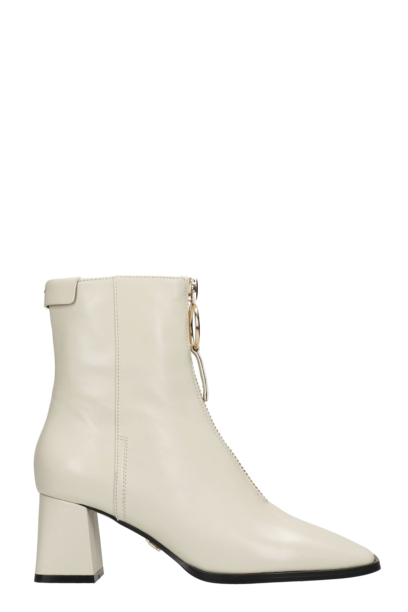 High Heels Ankle Boots In White Leather