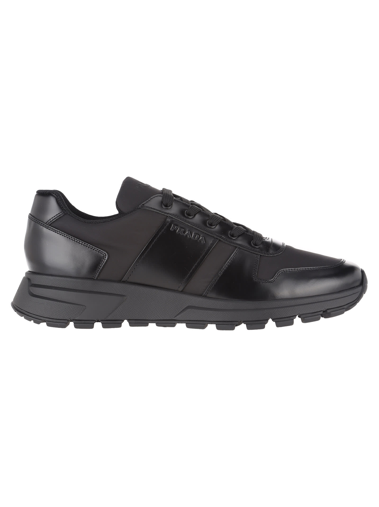 ae7f911664 Prada Fabric And Brushed Leather Sneakers