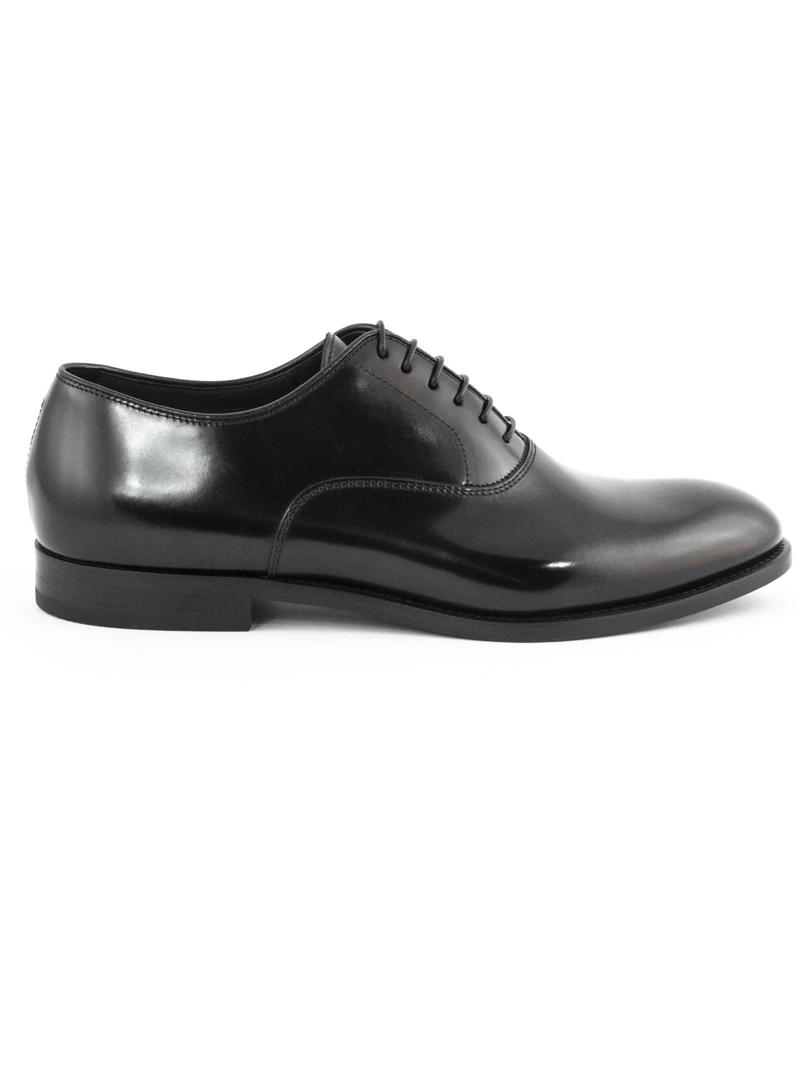 Doucals Black Leather Oxford Shoes